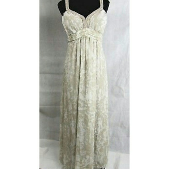 SOFT SURROUNDINGS L Taupe Ivory Summer Maxi Dress fa6f6b918